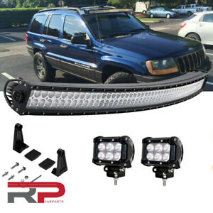 50 Curved Led Light Bar 4 Pods Cube Plug Play Wiring Jeep Grand Cherokee Wk