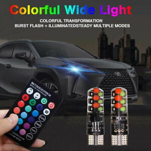 100pcs Wholesale T10 12smd Cob Led Rgb Multi color Strobe Light Remote Control