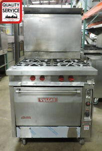 Vulcan Gh45c Commercial 4 Open Burner Heavy Duty Gas Range W Convection Oven