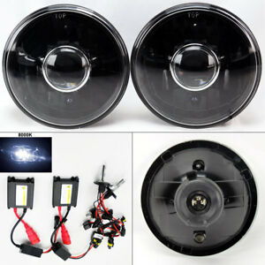 7 Round 8k Hid Xenon H4 Black Projector Glass Headlight Conversion Pair Dodge
