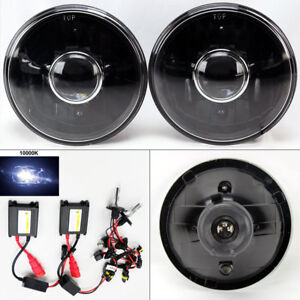 7 Round 10k Hid Xenon H4 Black Projector Glass Headlight Conversion Pair Chevy