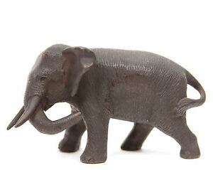 Antique Japanese Meiji Miniature Bronze Elephant Okimono Sculpture Statue Japan