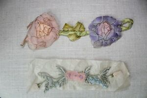 2 Lovely Antique Silk Chiffon Rose Ribbonwork Appliques Dolls