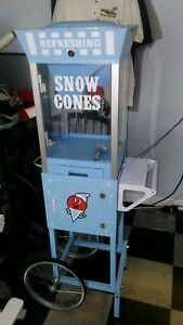 Snow Cone Shaved Ice Machine W Cart Includes 5 Bottles Of Syrup