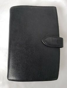 Vintage Coach Black Leather Planner Binder Compact Portable Personal 6 Ring 7 8