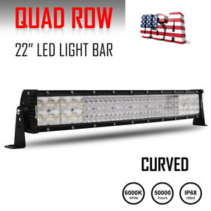22inch 2688w Curved Quad Row Led Light Bar Spot Flood Combo Ute Atv 20 23 21