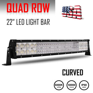 22inch 1170w Curved Tri Row Led Light Bar Spot Flood Combo Ute Atv 20 23 21