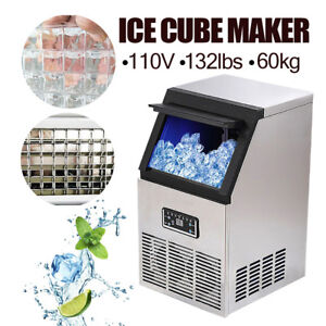 60kg Auto Commercial Ice Cube Maker Machines Stainless Steel Bar Restaurant 270w