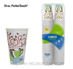 Disposable Hot Cups 156 Ct Insulated Paper 16 Oz Coffee Haze Design Dixie