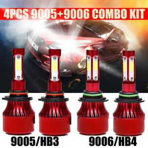 2pair 9005 9006 Led 880w 88000lm Combo Headlights Kit High Low Beam Bright 6000k