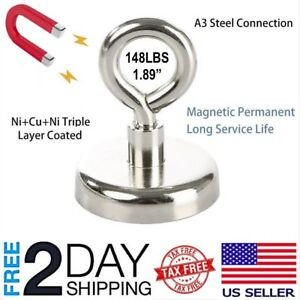 Fishing Magnet Neodymium Super Strong Retrieving Treasure Hunt 148lbs Pull Force