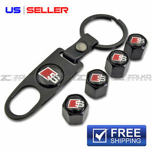 Valve Stem Caps Keychain Keyring Wheel Tire For Audi S Line Key Fob Keys Black