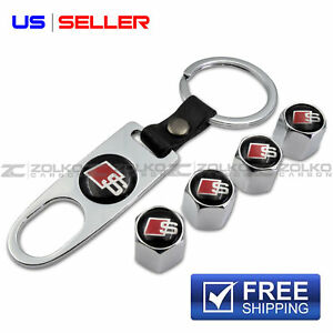 Valve Stem Caps Keychain Keyring Wheel Tire For Audi S Line Key Fob Keys