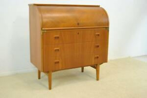 Mid Century Modern Teak Cylinder Roll Top Desk By Swedish Egon Ostergarrd 2