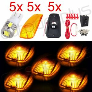 5x Amber Cab Marker Clearance Light Lamp Ultra White 5730 Led Wiring Kit For Gmc