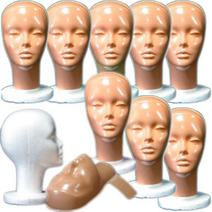 Mn 410 box Of 9 Pcs Female Styrofoam Head With Removable Non makeup Mask