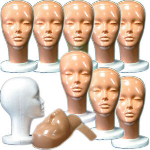 Mn 410 box Of 9 Pc Female Styrofoam Mannequin Head W Removable No makeup Mask