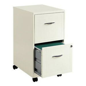 Rolling File Cabinet 2 Drawer Metal Filing Mobile Cart Home Office Storage Lock