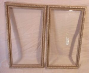 Pair Of Vintage Wood Carved Silver Leaf Frame12x21 Holds 10x18 3 4molding 1 1 4