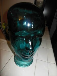 New Glass Mannequin Head Life Size Face 11 5 Glass Hat Stand Display Blue Teal