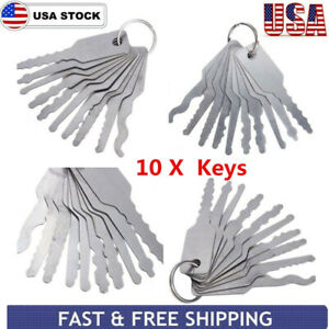 10pcs Stainless Jiggler Keys Dual Sided Car Unlocking Lock Opening Repair Kits