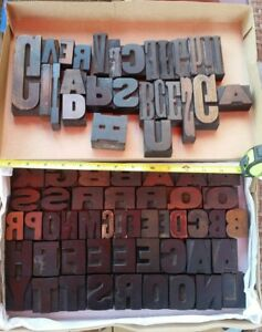 73 Unusual Vintage Large Letterpress Wood Printing Blocks Pcs Wooden Letters