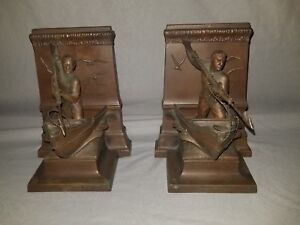 Art Deco Period Jennings Brothers Bookends A Dead Whale Or A Stove Boat