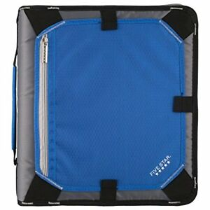 Five Star 2 Inch Zipper Binder Expansion Panel Durable Cobalt Blue Black