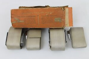 1962 Corvette Nos Pair Seat Belts Irving Air Chute Cs 5000 Fawn Beige Ncrs