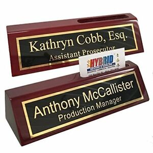 Personalized Business Desk Name Plate With Card Holder Includes Engraving