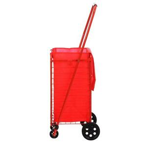 Red Folding Shopping Cart Grocery Basket Collapsible Portable Laundry Liner