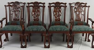 Set Of 8 Ethan Allen Chippendale Claw And Ball Mahogany Dining Room Chairs