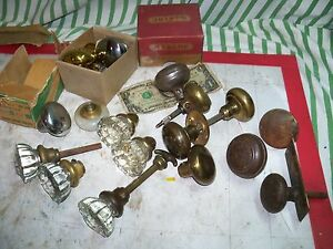 Antique Glass Metal Doorknob Door Knobs Brass Vintage