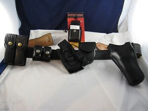 Leather Police Sz 40 Duty Gear Belt W 6 Accessories Incl Holster Mixon Bianchi
