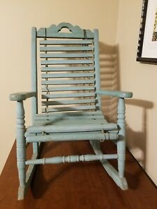 Antique Dry Paint Patina Child S Vintage Wood Rocking Chair Children Kids