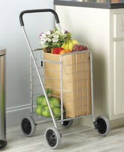 Whitmor Rolling Utility Shopping Cart Silver And Black Basket Grocery