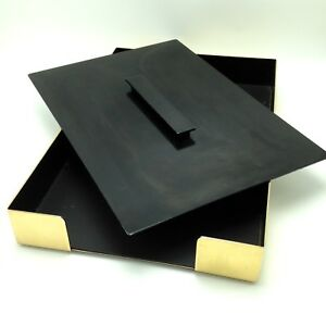 Vtg Knoll Smokador Gold Black Paper Inbox Tray Weighted Cover Midcentury 15 x10