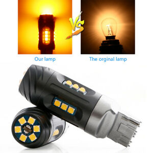 4pcs Amber T20 7440 2525 Led 27w Car Turn Signal Error Free Canbus Light Bulbs