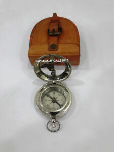 Nautical Push Button Compass Vintage Handmade Maritime Compass With Case Free