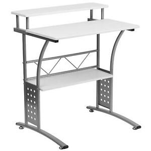 Clifton Computer Desk Office Desktop Workstation Raised Top Shelf Student Table
