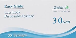 Easy Glide 30ml Luer Lock Syringes No Needle Pack Of 50