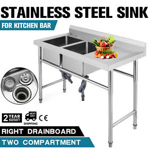 2 Compartment Handmade Sink W Right Drain Board Service 9 5 Deep Cafe Shop