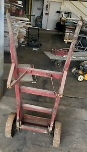 Antique Vintage 2 Wheel Hand Cart Hand Truck Dolly Wood Iron Industrial
