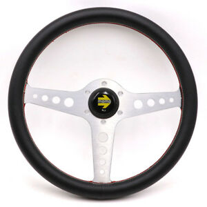 Momo Style Classic 14inch 350mm Silver Lightweight Racing Leather Steering Wheel