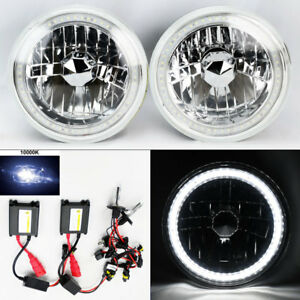 7 Round 10k Hid Xenon H4 Clear Smd Led Drl Glass Headlight Conversion Pair Ford