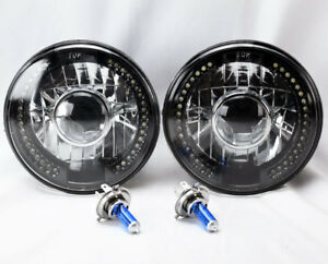 7 Round H4 Black Chrome Led Drl Projector Glass Headlights Conversion Ford