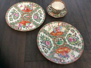 Antique Chinese Export Rose Medallion 10 Dinner Plates Cup Saucer Made In China