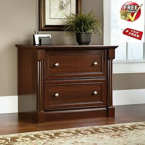 Lateral File Cabinet Cherry Wood 2 Drawer Sauder Document Storage Letter Legal
