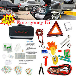 Roadside Emergency Kit Portable Auto Set Car Tool Bag 123pcs Vehicle Safety Kit