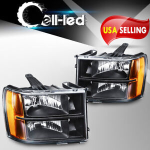 For 2007 2013 Gmc Sierra 1500 2500hd 3500hd Headlights Black Housing Clear Lens